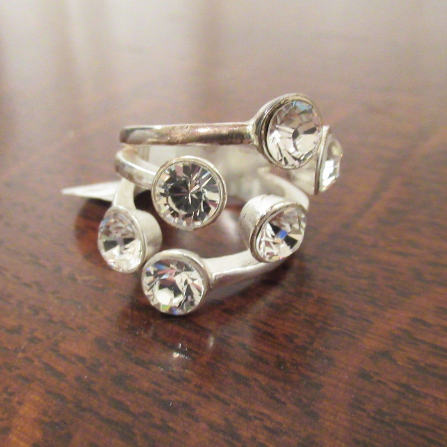 Brushed silver tone Round Cubic Zirconia 6 Ring