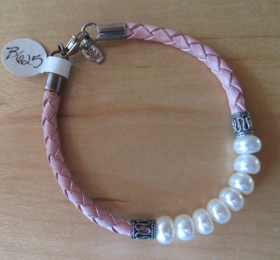 Sterling silver Pearl Braided Pink Cord bracelet