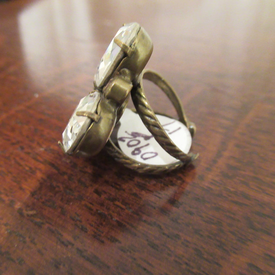 Brass toned Teardrop 4 Faceted Sorrelli Clear Ring