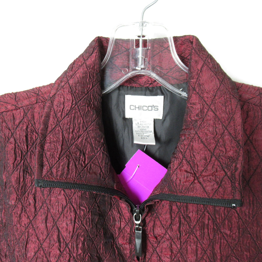 Chico's Wine Poly blend Quilted Jacket