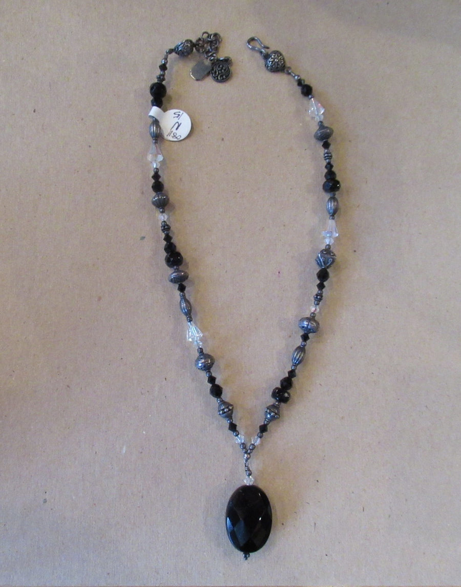 Sterling silver Oval Faceted Black Tres Jolie Beaded necklace