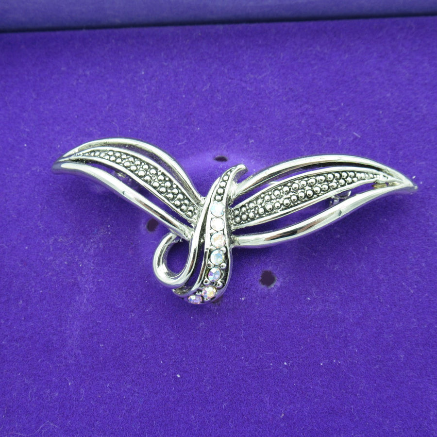 Silver toned Bird Crystal Pin - Clotheshorse Boutique