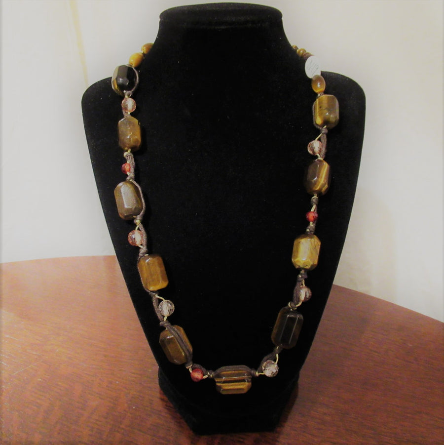 Sterling silver Tubular Tiger eye Beaded necklace