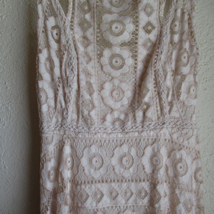 Free People Ivory Nylon Lace S L Dress