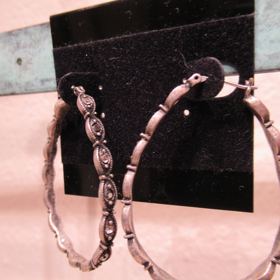 Pewter toned Oval Ornate Hoop earrings