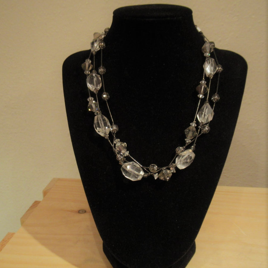 Gunmetal toned Crystal 3 strand Faceted Clear Dabby Reid Beaded necklace