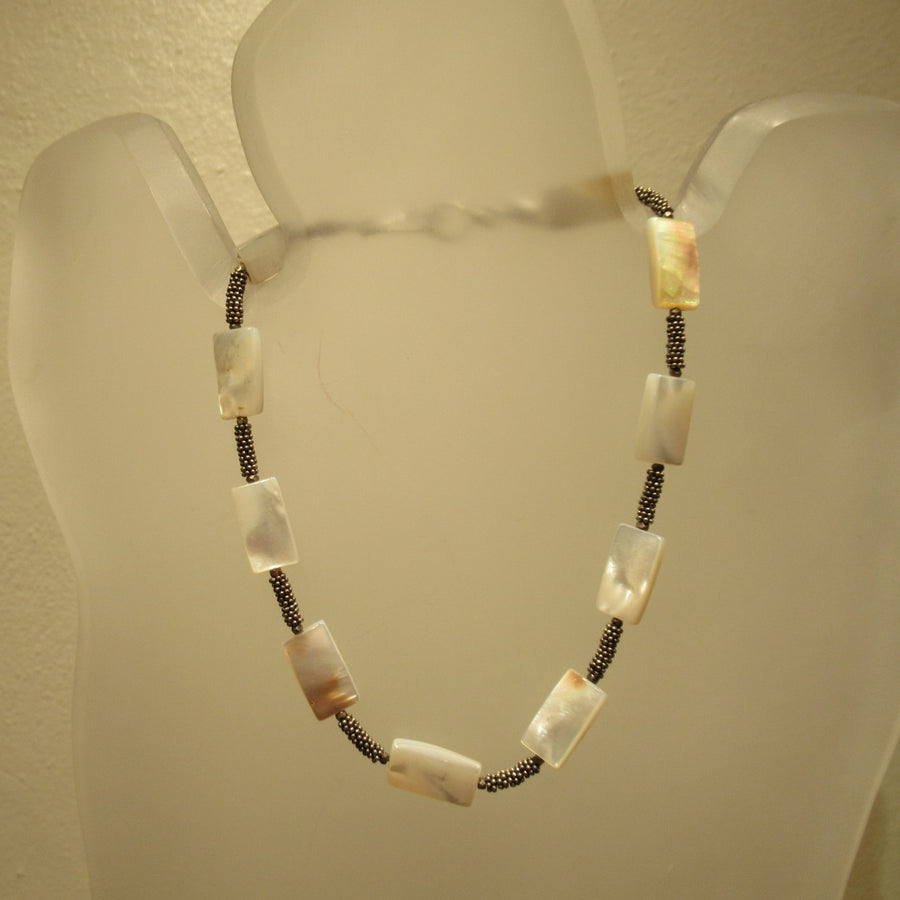Sterling silver Rectangle Mother of pearl Beaded necklace