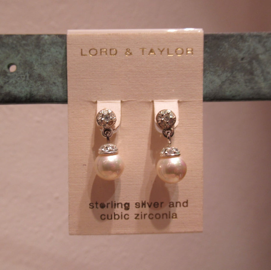 Sterling silver Faux pearl Sparkly Lord & Taylor Post dangle earrings