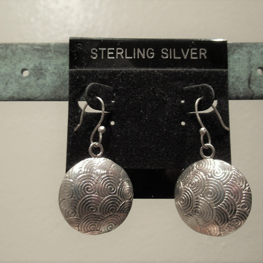 Sterling silver Circle Stamped Wire dangle earrings