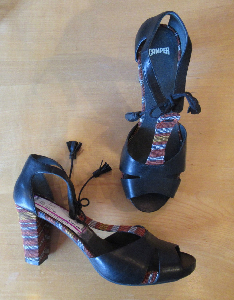 Camper Black Leather/Fabric High Sandals