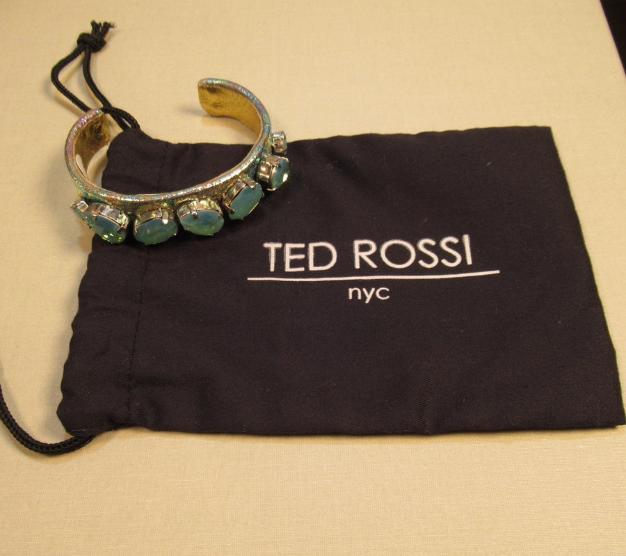 Leather Pear Faceted Turquoise Ted Rossi Cuff bracelet - Clotheshorse Boutique