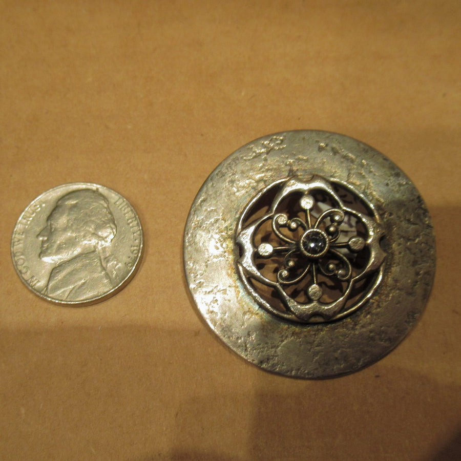 Pewter toned Round Crystal Ornate Baer Pin