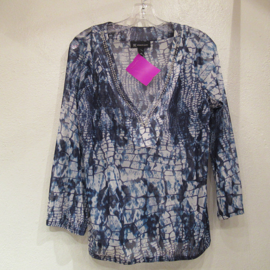 Inc Blue Nylon Mesh Print 3/4 Top