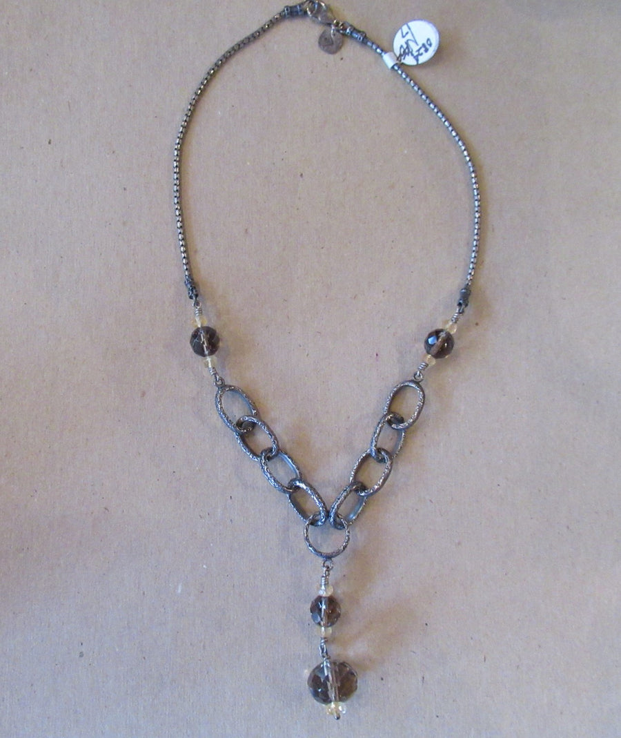 Sterling silver Quartz Smoky Silpada Beaded necklace
