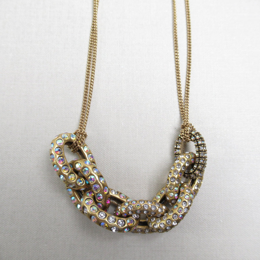 Brass toned Oval 5 Sparkly J Crew Chain necklace - Clotheshorse Boutique