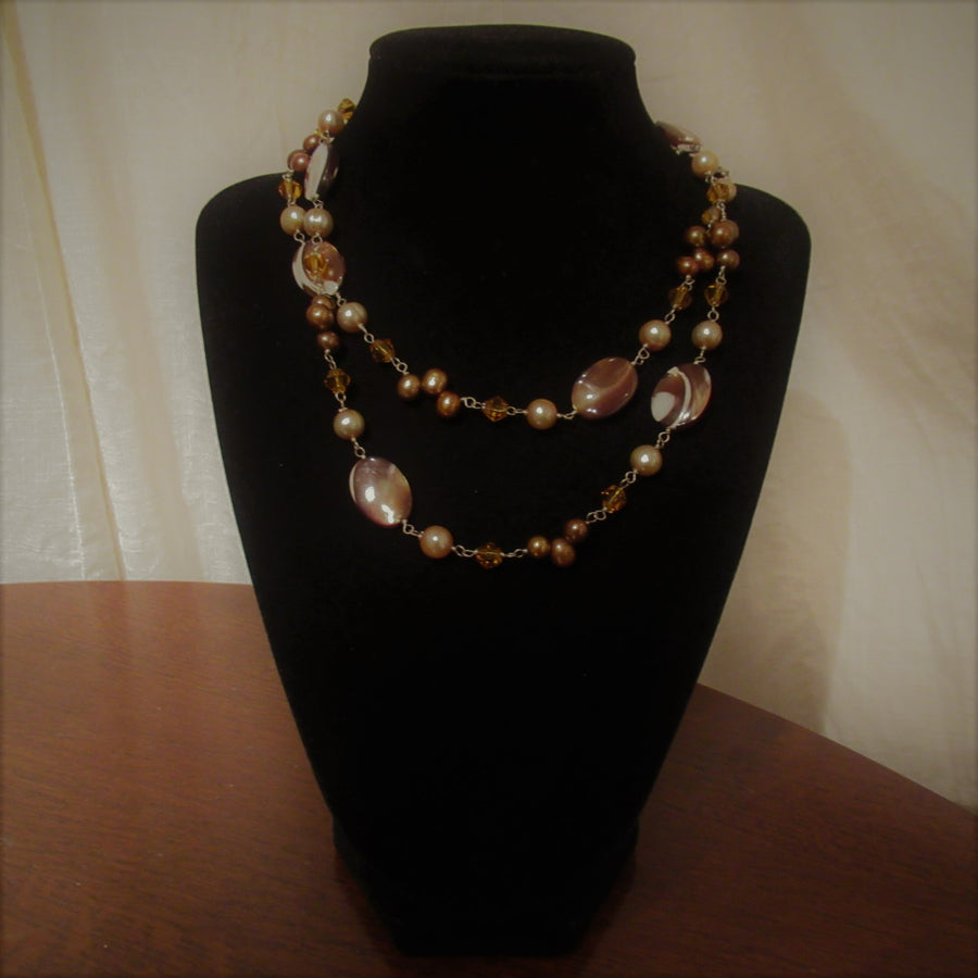 Sterling silver Oval Shell Brown Beaded necklace