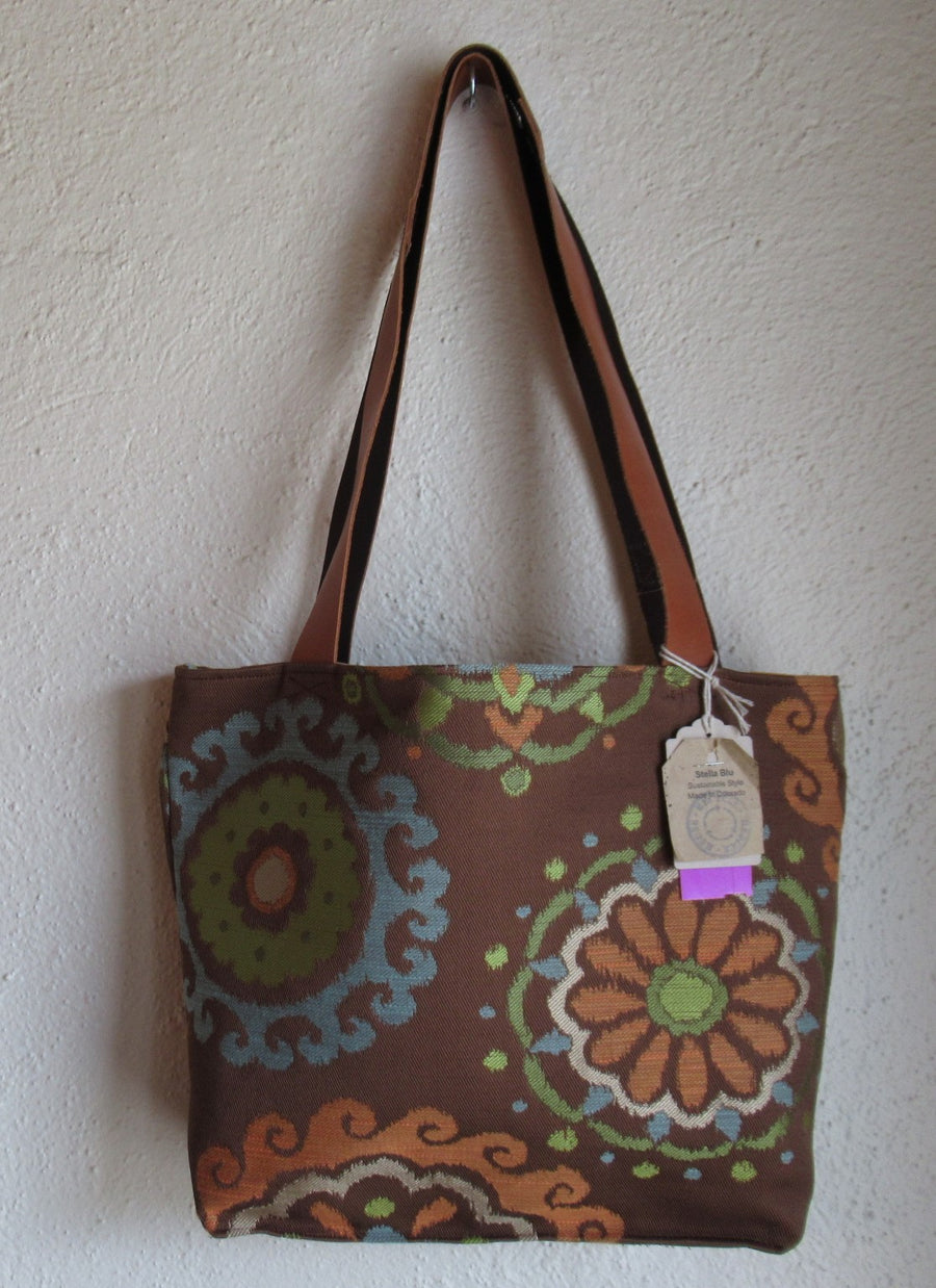 Stella Blu Brown Fabric Print Large Tote bag