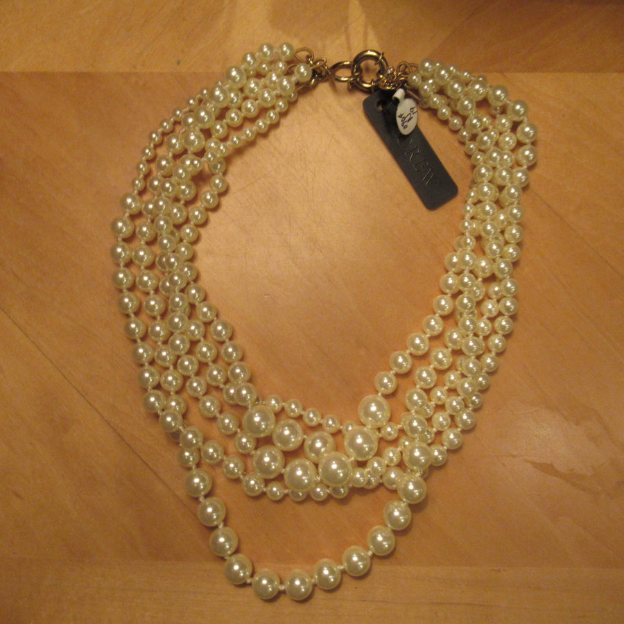 Gold toned Faux pearl 5 strand J Crew Beaded necklace