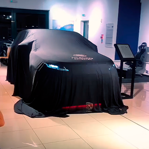 AirShroud Remote Control Reveal - Large indoor car cover with custom logo - AirShroud