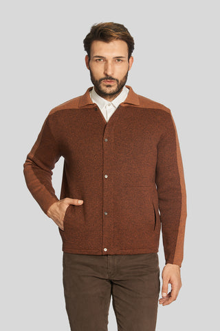 Polo Neck Pockets Brown Wool Jacket