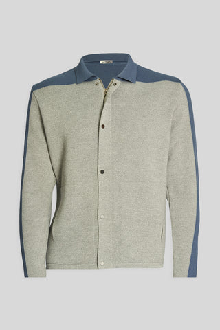 Polo Neck Pockets Gray Wool Jacket