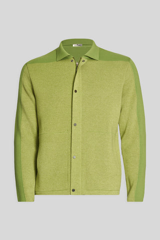 Polo Neck Pocket Green Wool Jacket