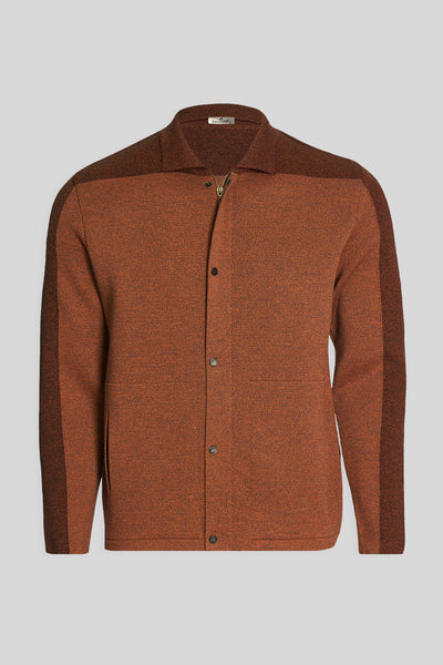 Polo Neck Pockets Dark Tan Wool Jacket