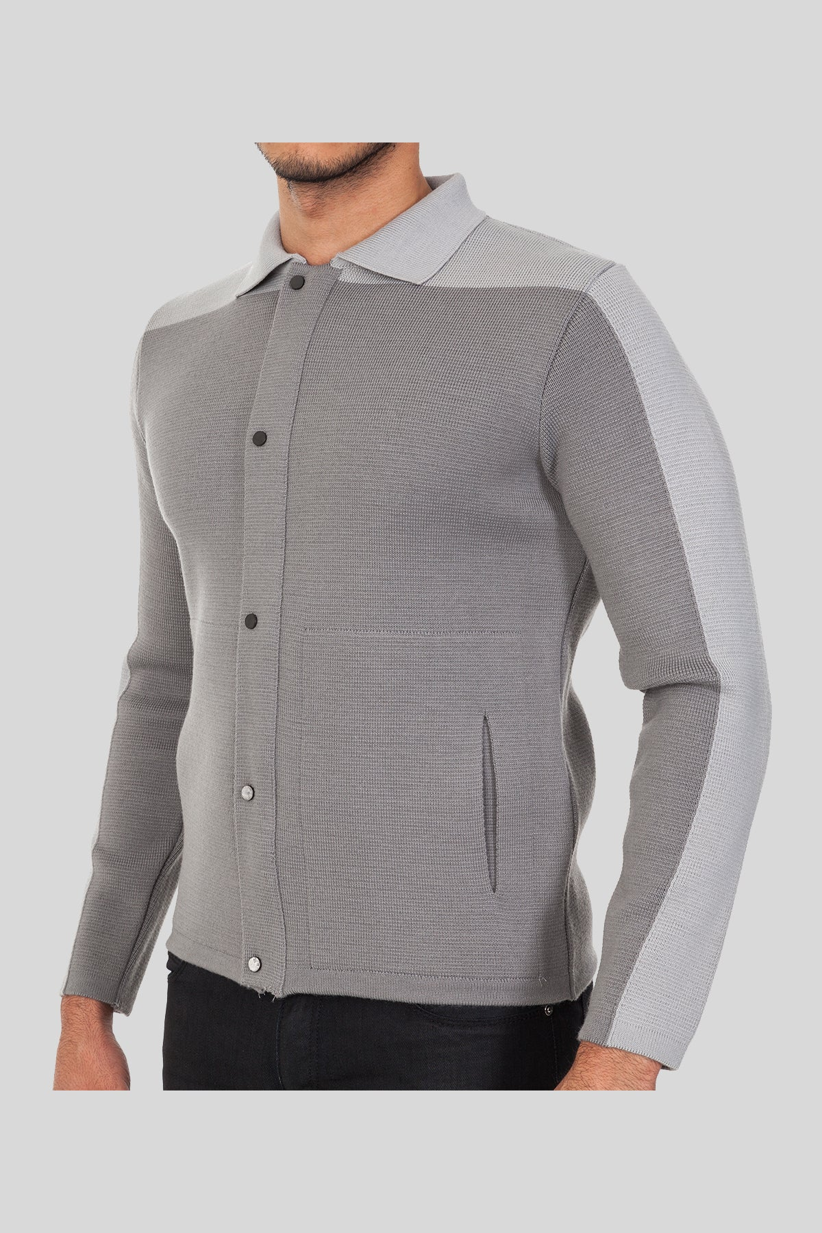 Polo Neck Light Veto Wool Jacket With Pockets
