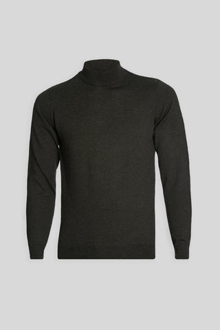 Mock Neck Wool Anthracite Sweater
