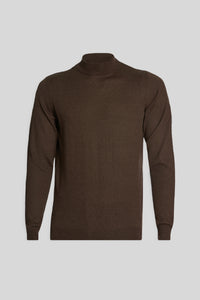 Mock Neck Wool Brown Sweater
