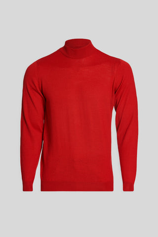 Mock Neck Wool Red Sweater