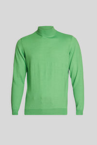Mock Neck Wool Light Green Sweater