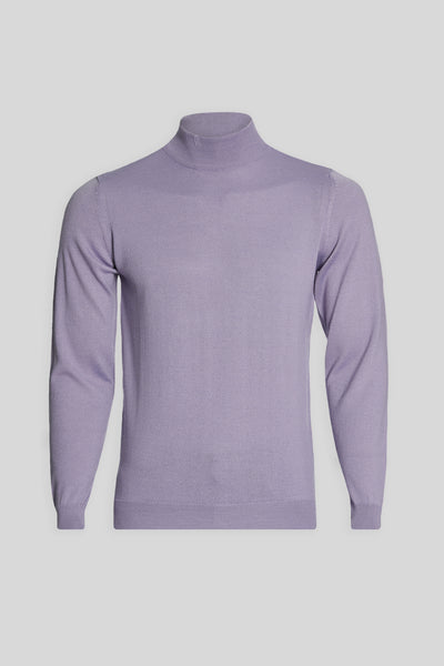 Mock Neck Wool Light Lilac Sweater