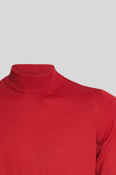 Mock Neck Wool Sour Cherry Sweater