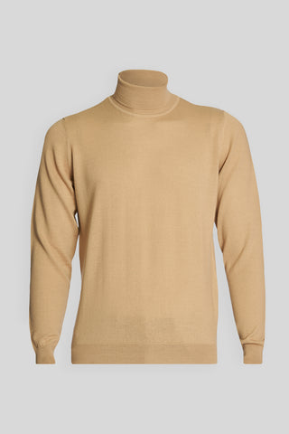 Turtle Neck Wool Coffee With Milk Sweater