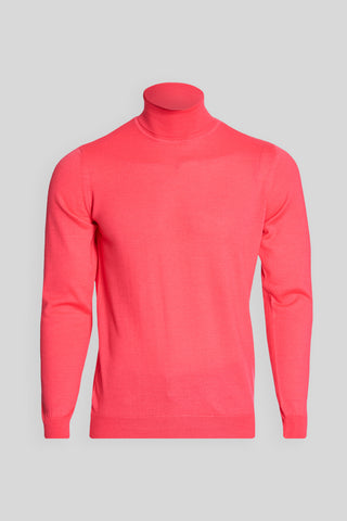 Turtle Neck Wool Pink Sweater