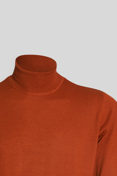 Turtle Neck Wool Tile Sweater