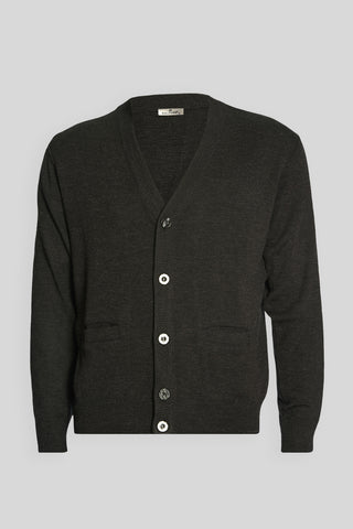 V Neck Buttoned Wool Anthracite Cardigan
