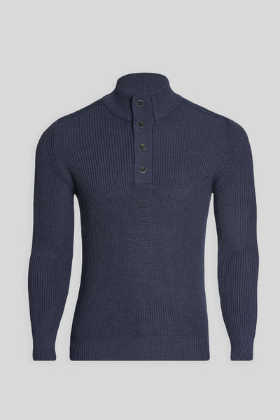 Mock Neck Buttoned Wool Indigo Blue Sweater