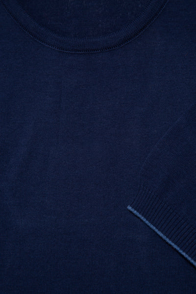 Crew Neck Cotton Navy Blue T-Shirt