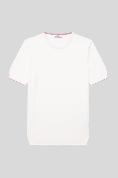 Crew Neck Cotton Ecru T-Shirt