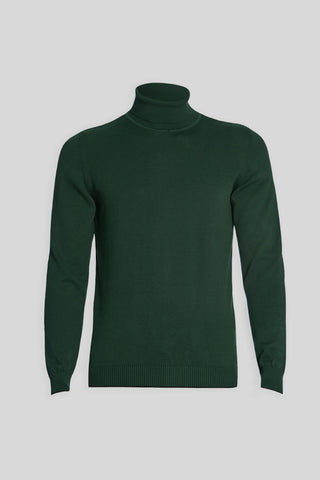 Turtle Neck Cotton Green Sweater