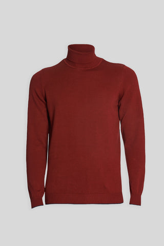 Turtle Neck Cotton Plum Red Sweater