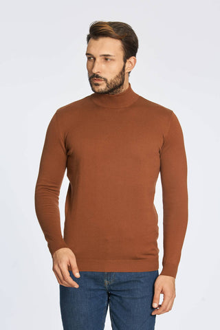 Mock Neck Cotton Camel Brown Sweater