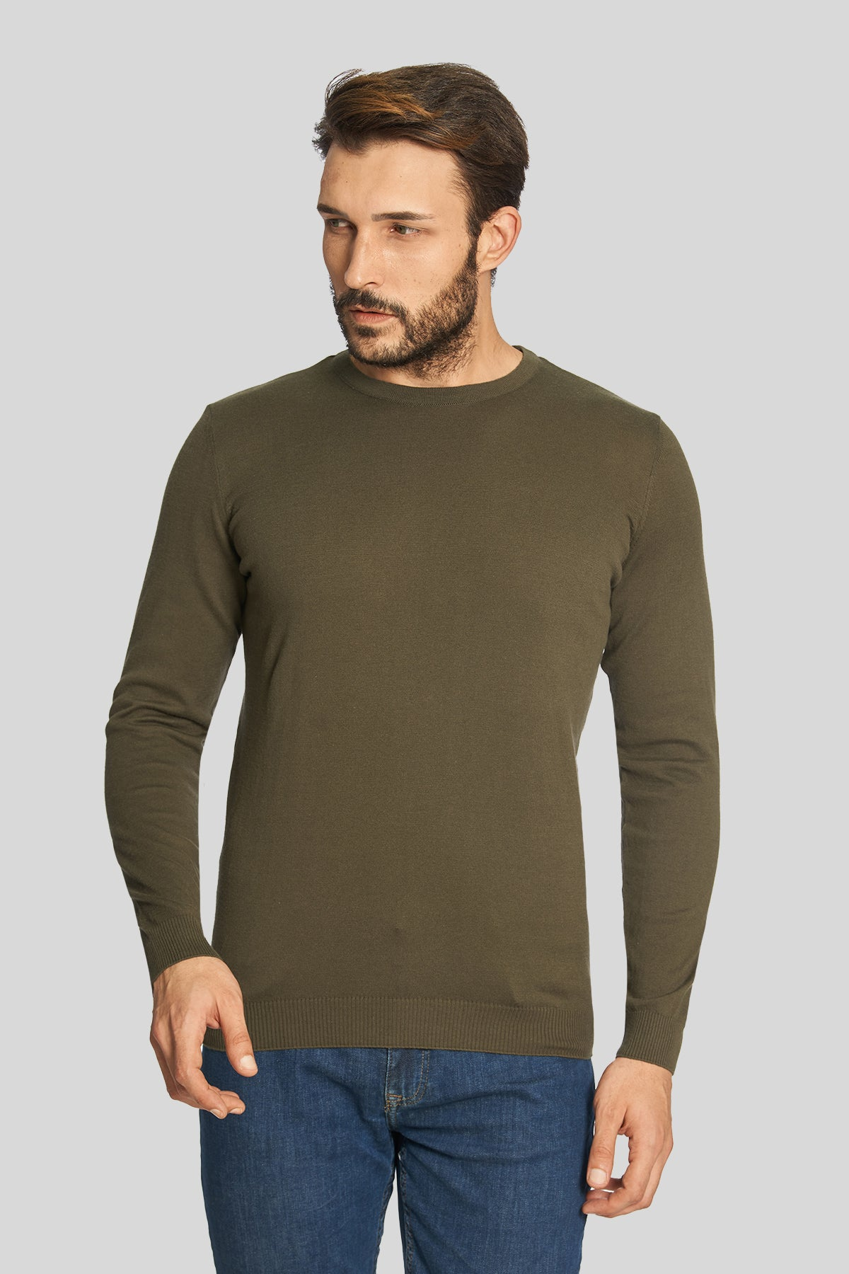 Khaki Crew Neck Cotton Sweater