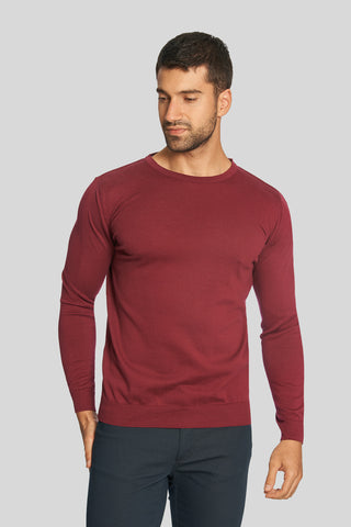 Dried Rose Crew Neck Cotton Sweater