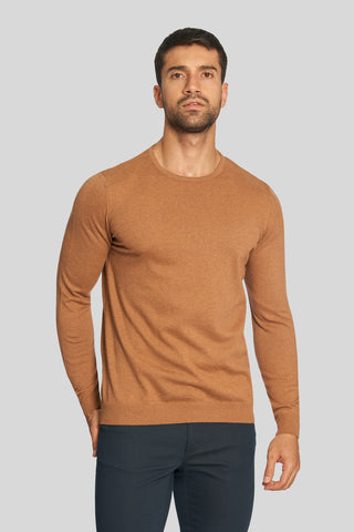 Milky Brown Crew Neck Cotton Sweater