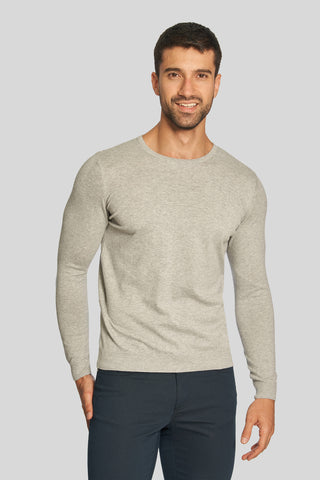 Light Gray Crew Neck Cotton Sweater