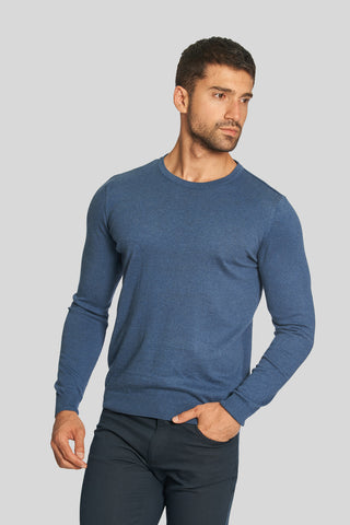 Melange Indigo Crew Neck Cotton Sweater