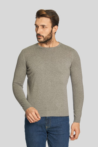 Melange Gray Crew Neck Cotton Sweater